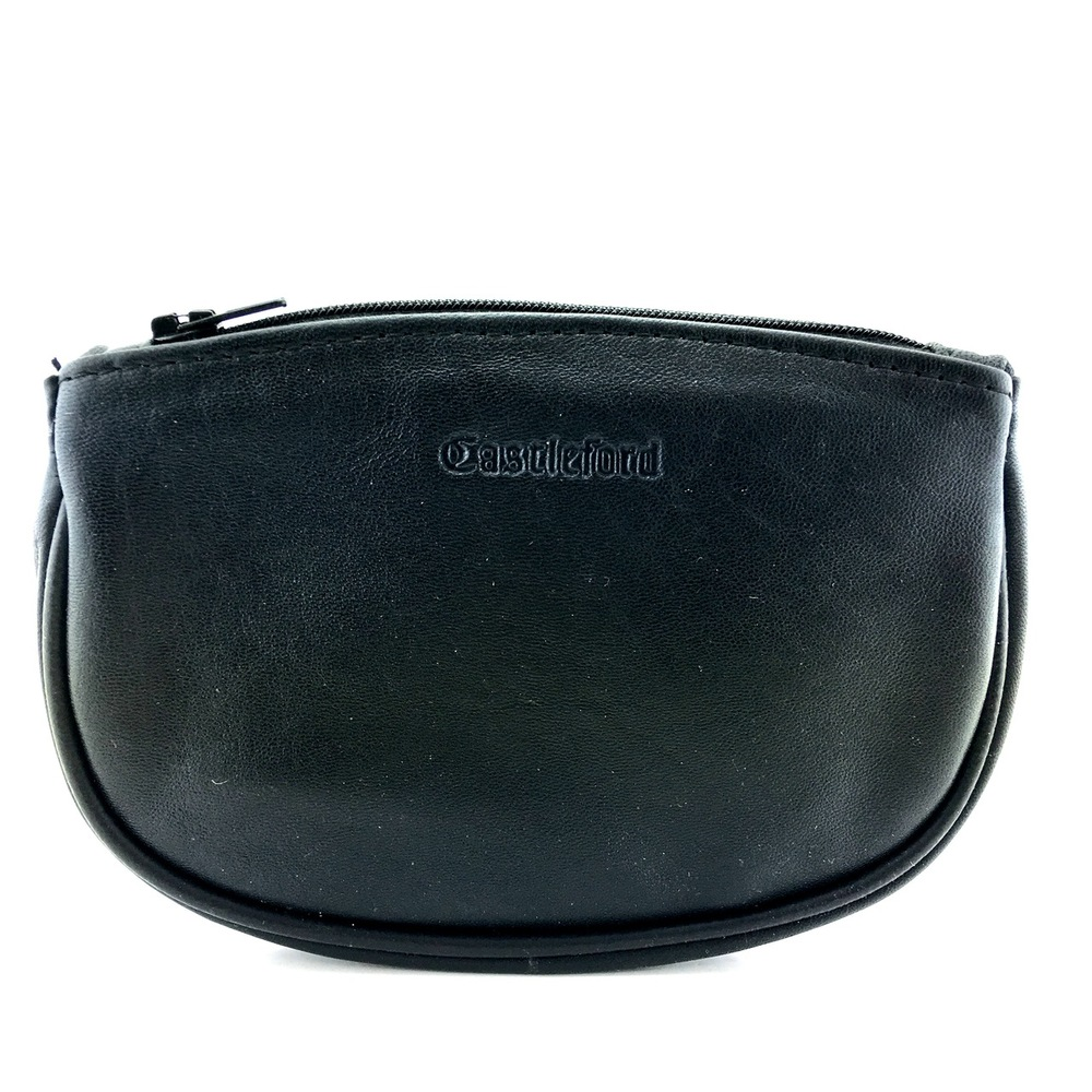 Wessex Pipe Tobacco Pouch Black Leather Semi-Oval Zip Top NEW